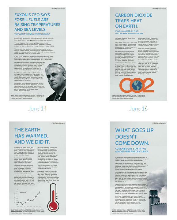 Climate ads in the WSJ. Four down, eight to come.