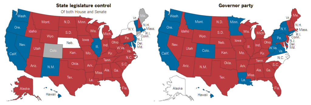 States - Us map of republican governors