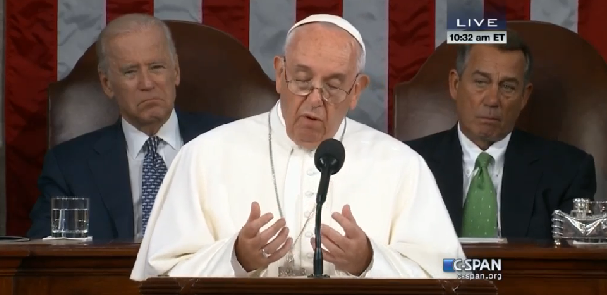 Pope Francis addressing a joint session of Congress, Sept 24, 2015
