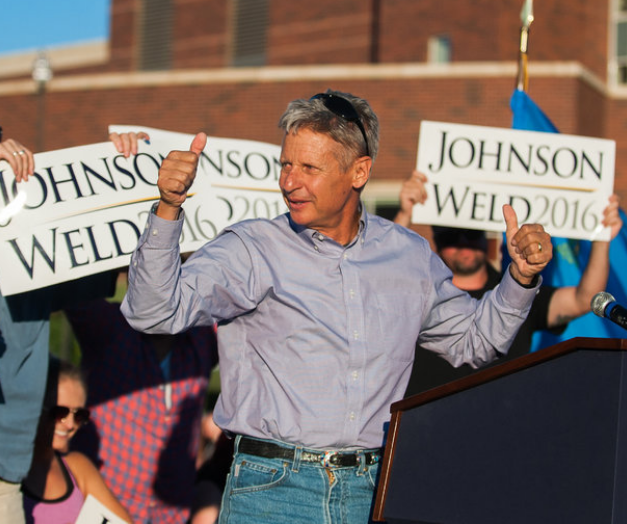 Libertarian presidential candidate Gary Johnson at a rally at the University of Nevada in Reno this month. Photo credit: NY Times.
