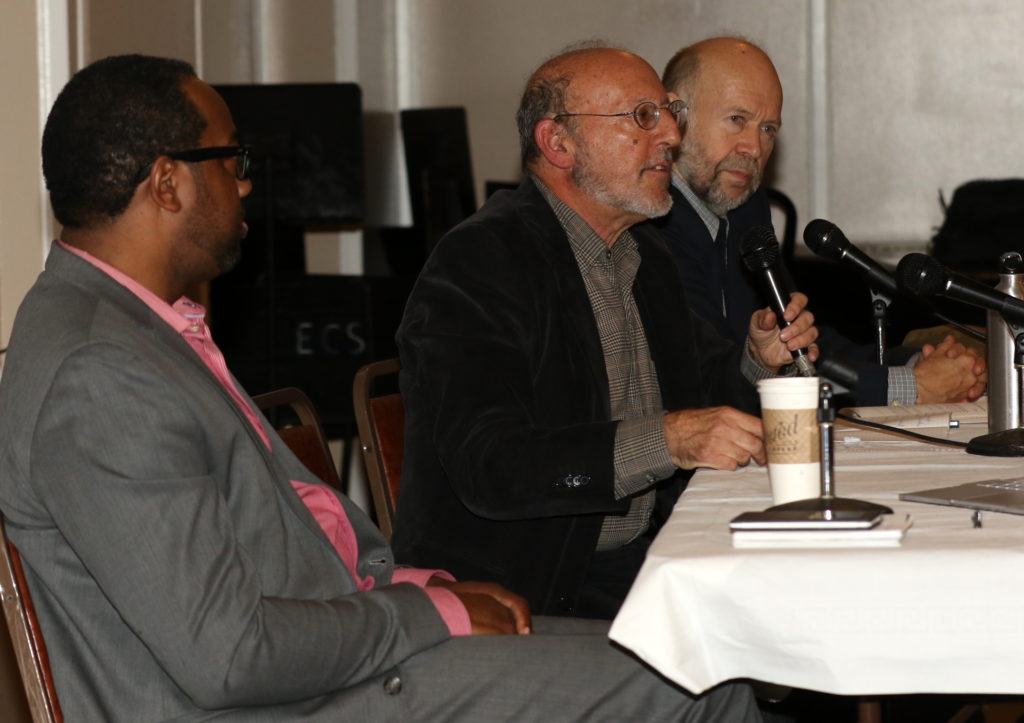 L to R: Cecil Corbin-Mark, Komanoff, James Hansen