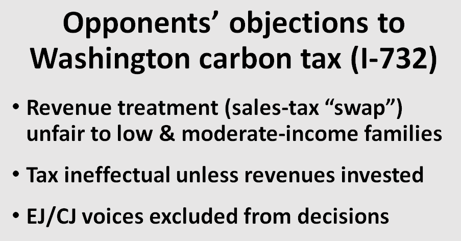 Four weeks after the election, I'm still stunned that many left-greens opposed the Washington state carbon tax referendum.
