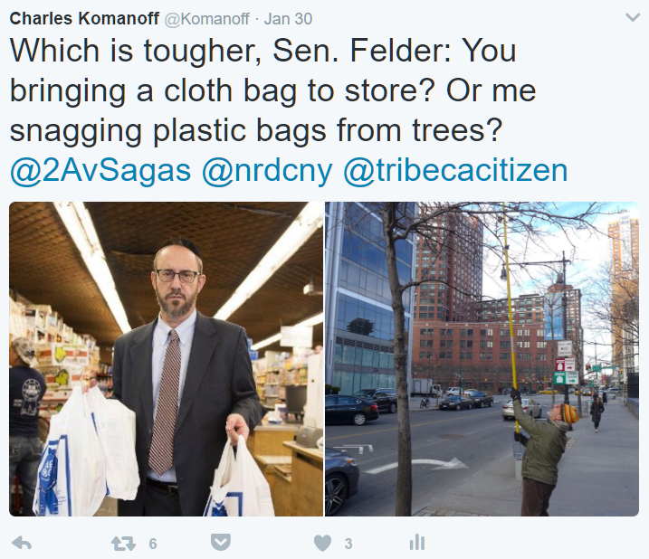 "To State Senator Simcha Felder, the nickel bag fee is a scam to ""shake New Yorkers own every time they shop just for the privilege of using a plastic bag."""
