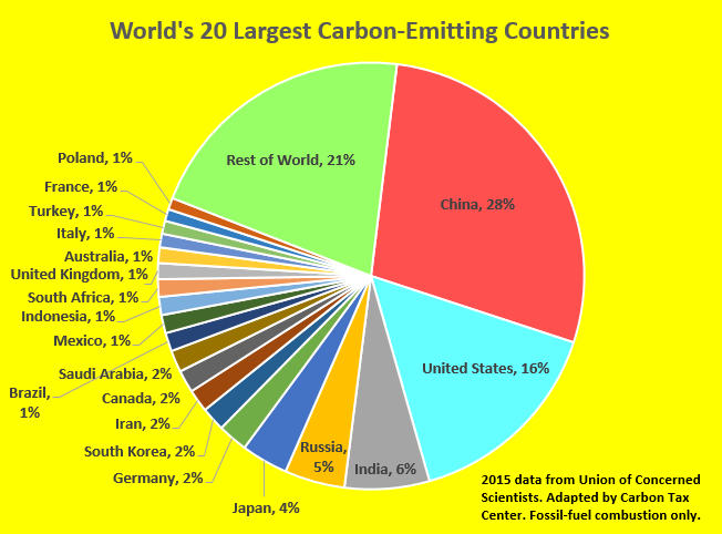 Image result for pie chart showing carbon emissions of various countries